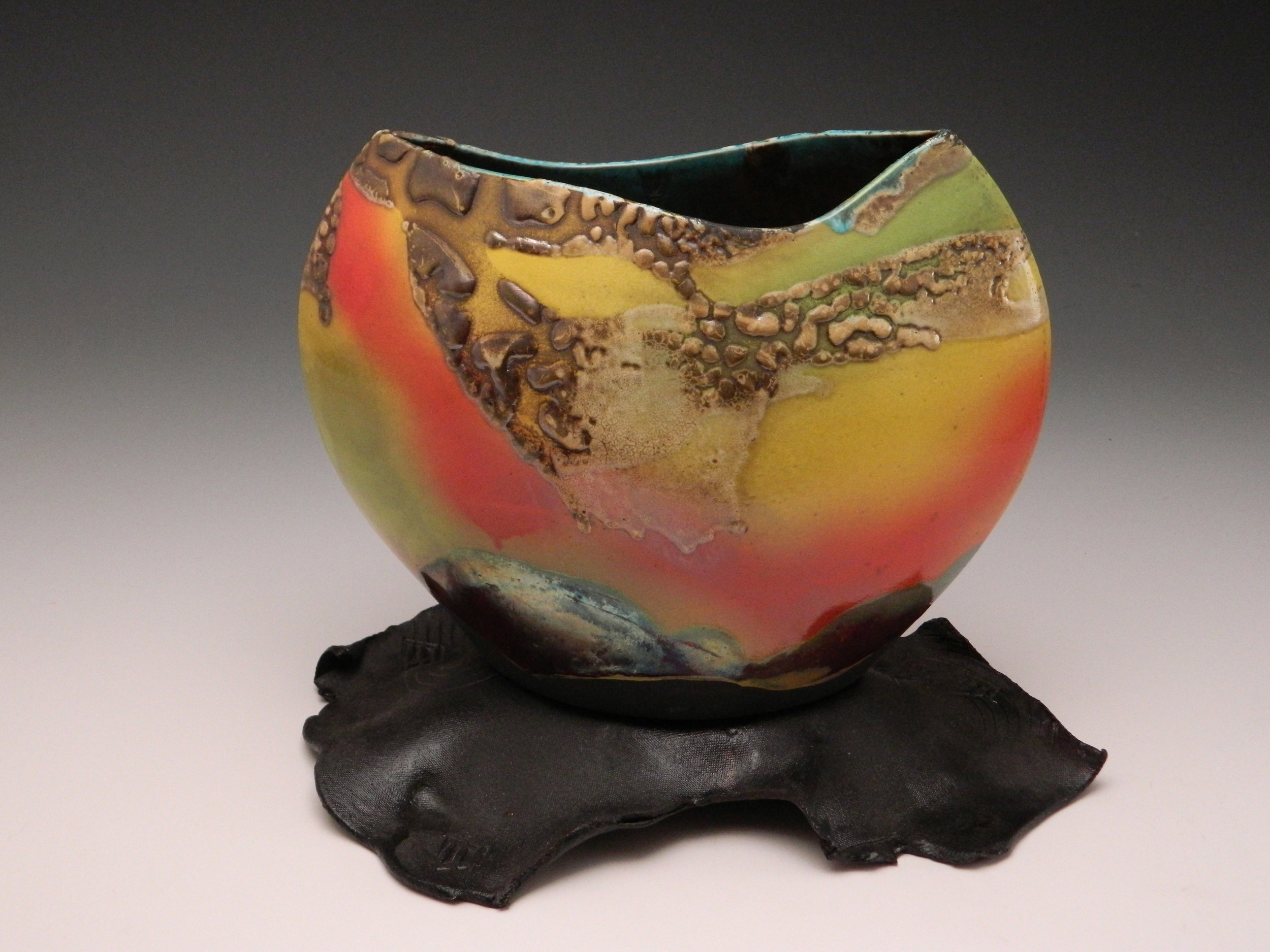 Pottery Raku Eclipse Santa Fe Sunset by Lambeth Marshall