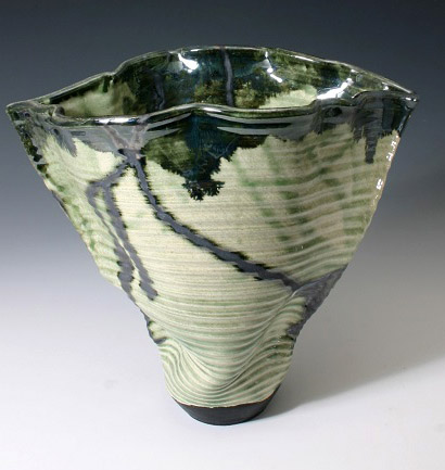 Pottery Celadon Altered Vase by Lambeth Marshall