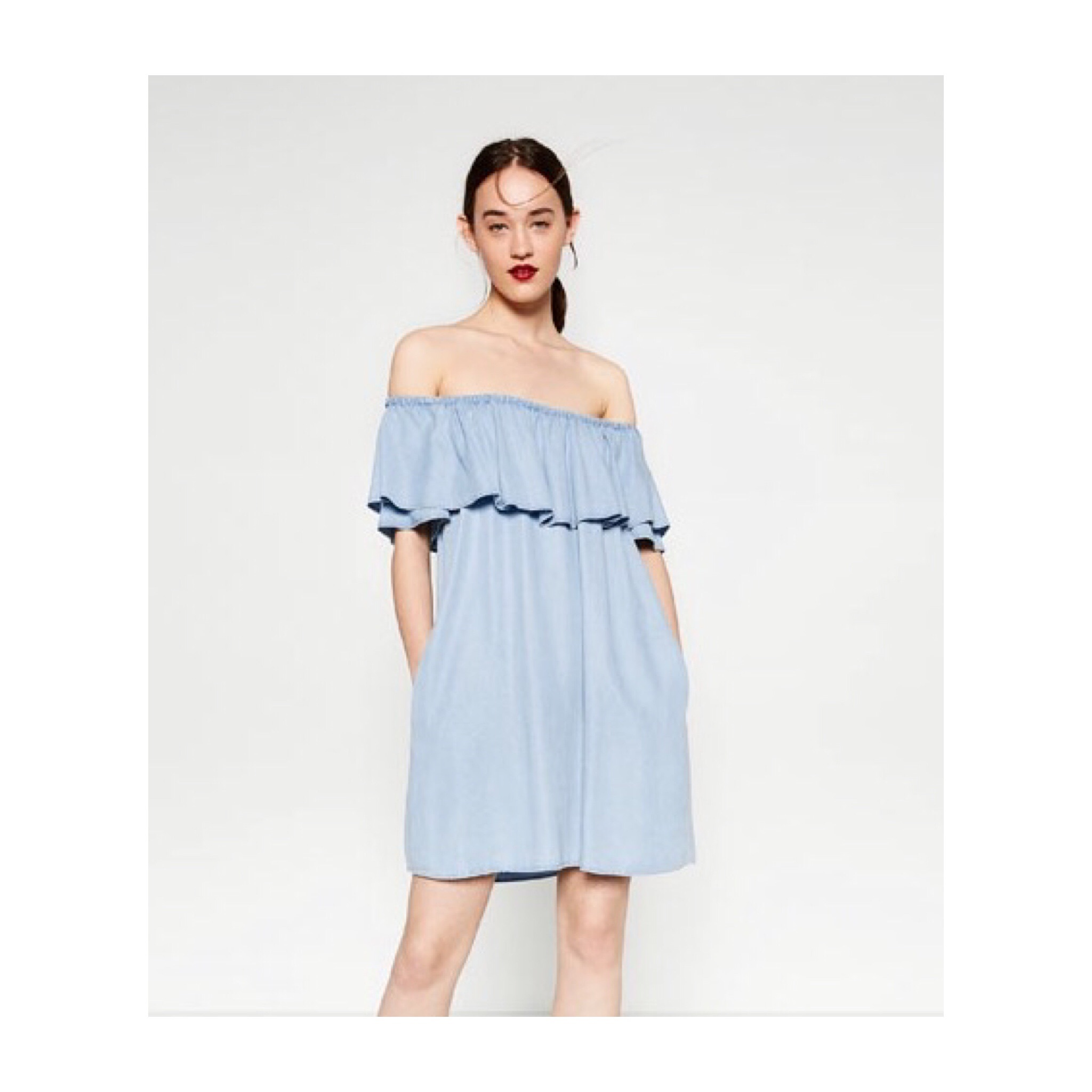 Zara ruffle dress ... I bought this dress before a trip to LA and I love it, so easy to pull on and I love the denim look.