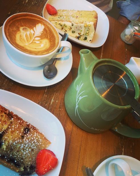 Lime & zucchini cake & lemon & blueberry cake at Cafe Winchester