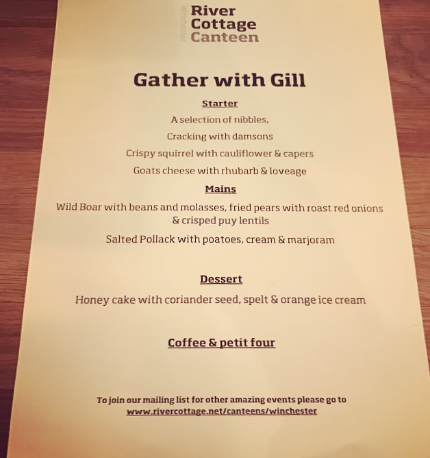 The menu for the evening ...