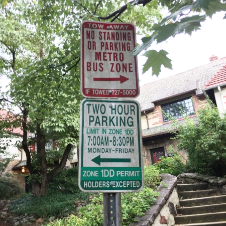 A parking rules sign on Irving Street in Mount Pleasant.