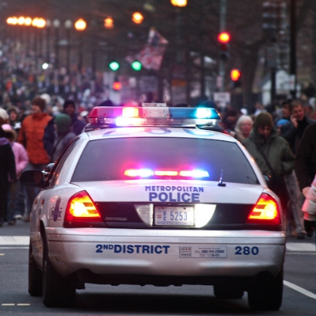 A D.C. Metropolitan Police officer patrols the streets during Barack Obama's inauguration.