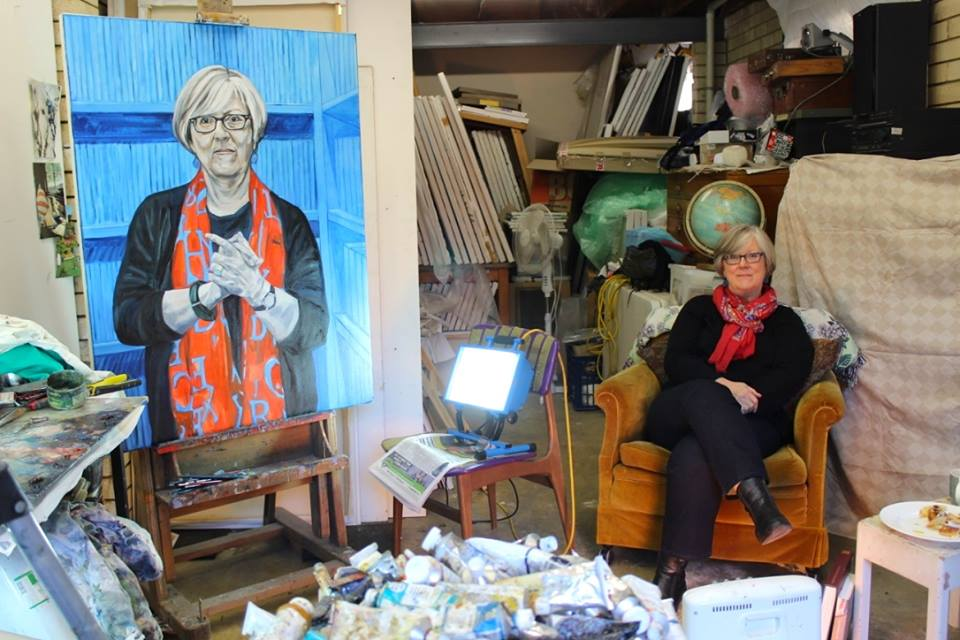 Luise in my studio with painting in progress