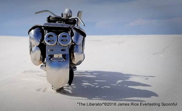 "The rear end of ""The Liberator"" spoon motorcycle sculpture. Made with stainless spoons.  #SpoonMotorcycle #JamesRice #WLA #WarBike #HarleyDavidson #Harley #motorcycle #motorcycleart #art #HD #metalart"
