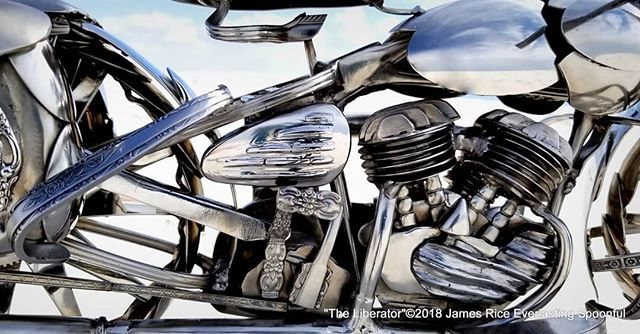 "Up close with ""The Liberator"" spoon motorcycle engine. Made with all spoons, this is the iconic Flathead V-Twin.  #SpoonMotorcycle #JamesRice #Harley #sculpture #WLA #WarBike #HarleyDavidson #Veteran #art #EverlastingSpoonful #metalart #motoart #motorcycleart #HD #WWII"