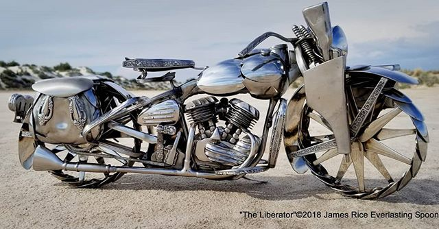 """The Liberator"" spoon motorcycle sculpture, with the Thompson submachine gun in the holdster. Bike and gun 100% spoons, as always.  #SpoonMotorcycle #JamesRice #Harley #wwii #tommygun #art #sculpture #motoart #metalart #motorcycleart #allspoons #EverlastingSpoonful #FineArt #HD #WLA #Warbike #veteran #HarleyDavidson"