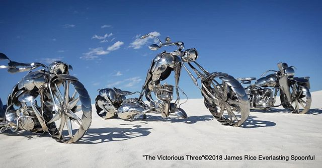 "Three of my winning sculptures together at White Sands. From left to right: ""The Scorpion"", ""The Mantis"", and ""The Liberator"". Just missing ""The Roadrunner"", it was still up in Albuquerque.  #SpoonMotorcycle #JamesRice #choppers #winners #metalart #Harley #art #MotoArt #HD #WWII #EverlastingSpoonful #FineArt #WLA #Warbike #Veteran #HarleyDavidson #allspoons #spoons #motorcycleart #spoon #motorcycle #motorcycles #stainlesssteel"