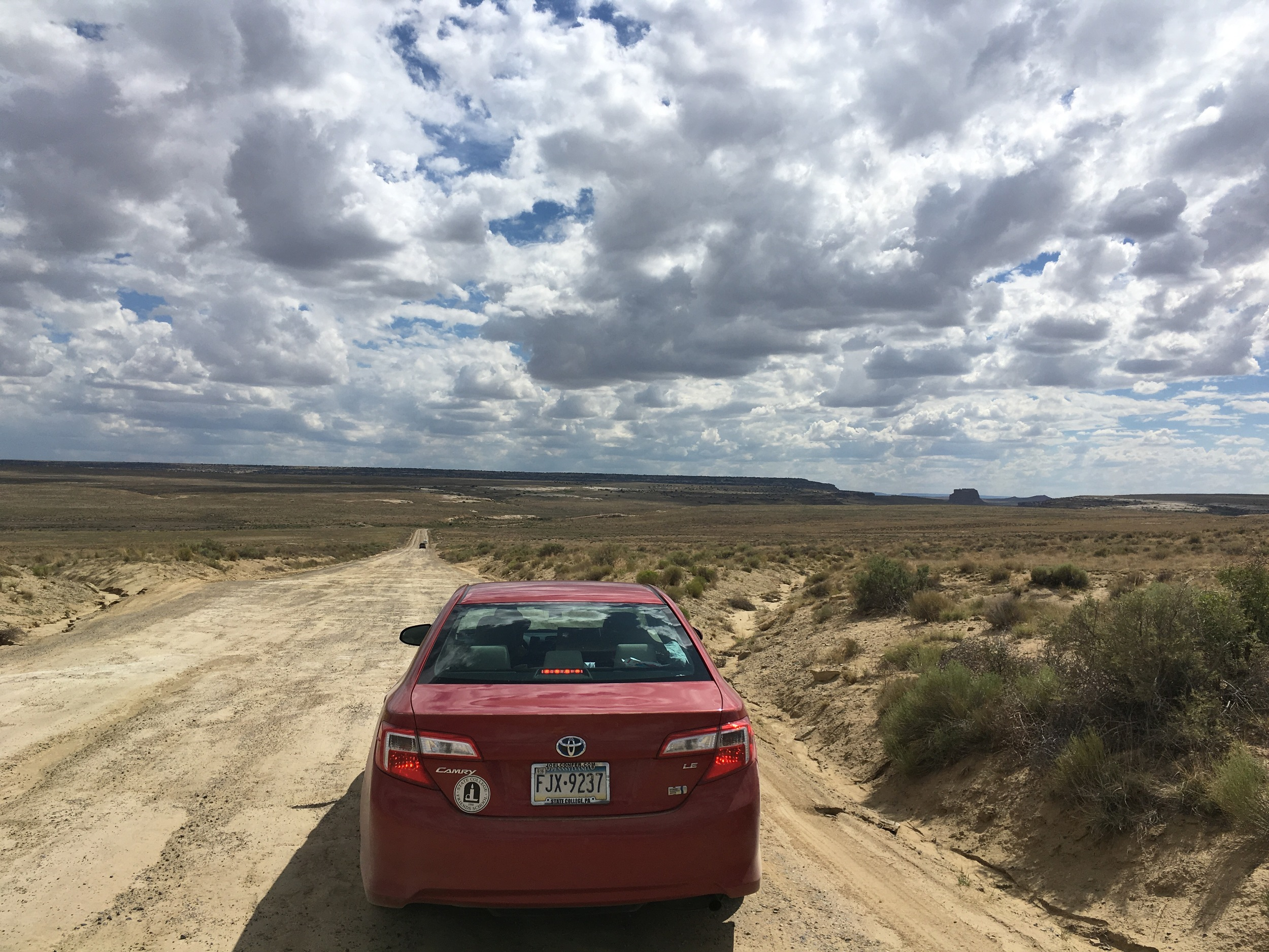 Driving in to Chaco Canyon