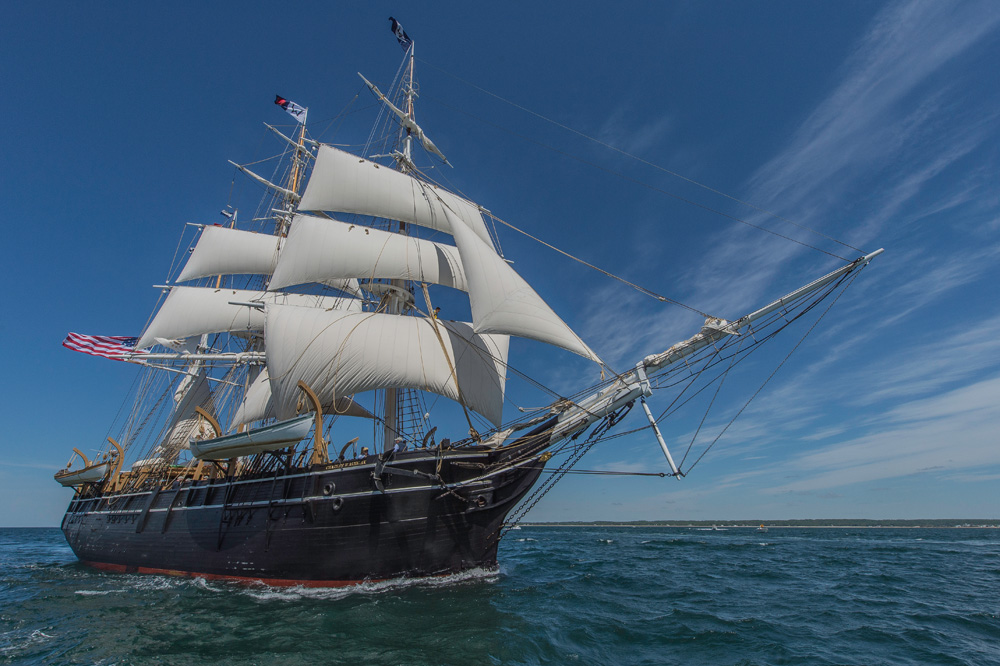 The  Charles W. Morgan sailing to Newport on her 38th Voyage, June 15, 2014. Image courtesy Mystic Seaport.