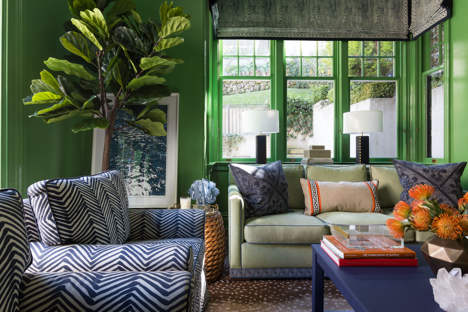 family room with green lacquered walls