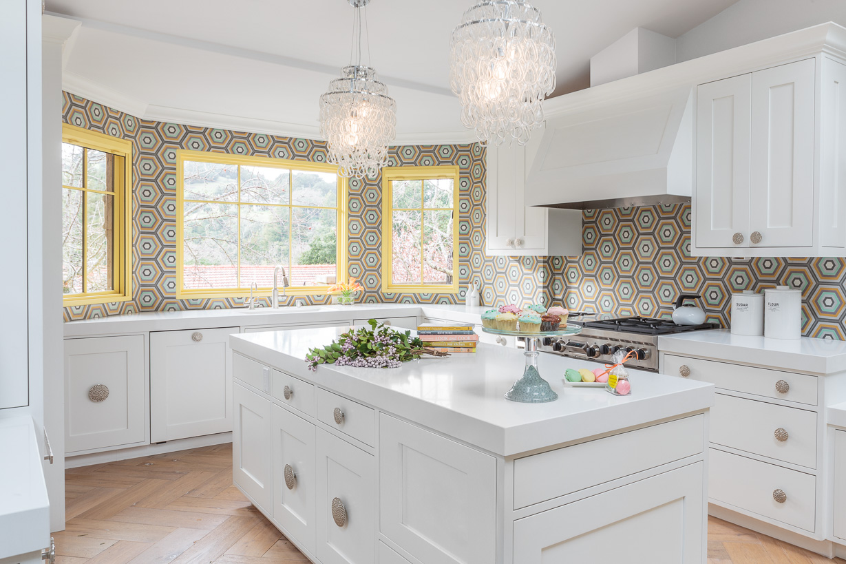 white kitchen with modern tile