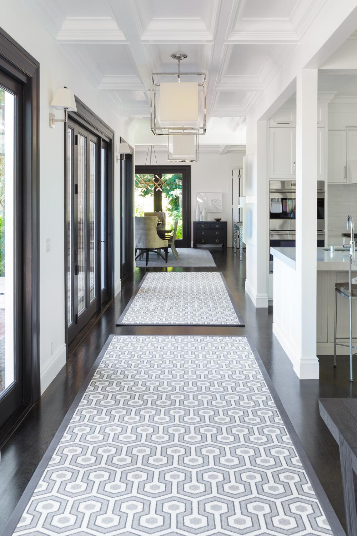 hallway with dark flooring