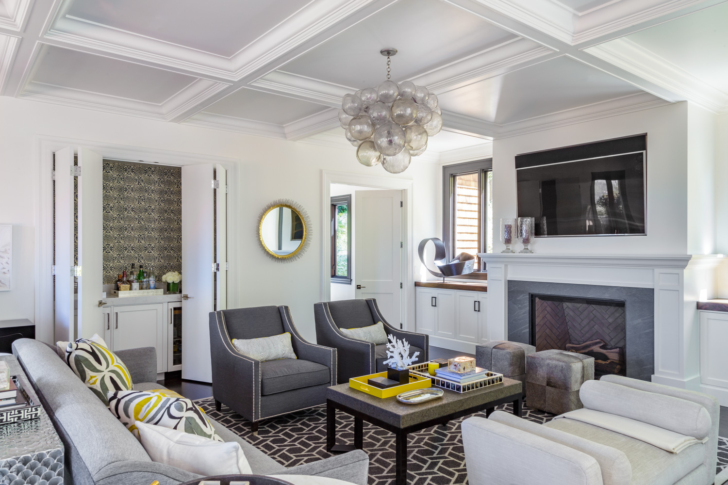 gray and white media room
