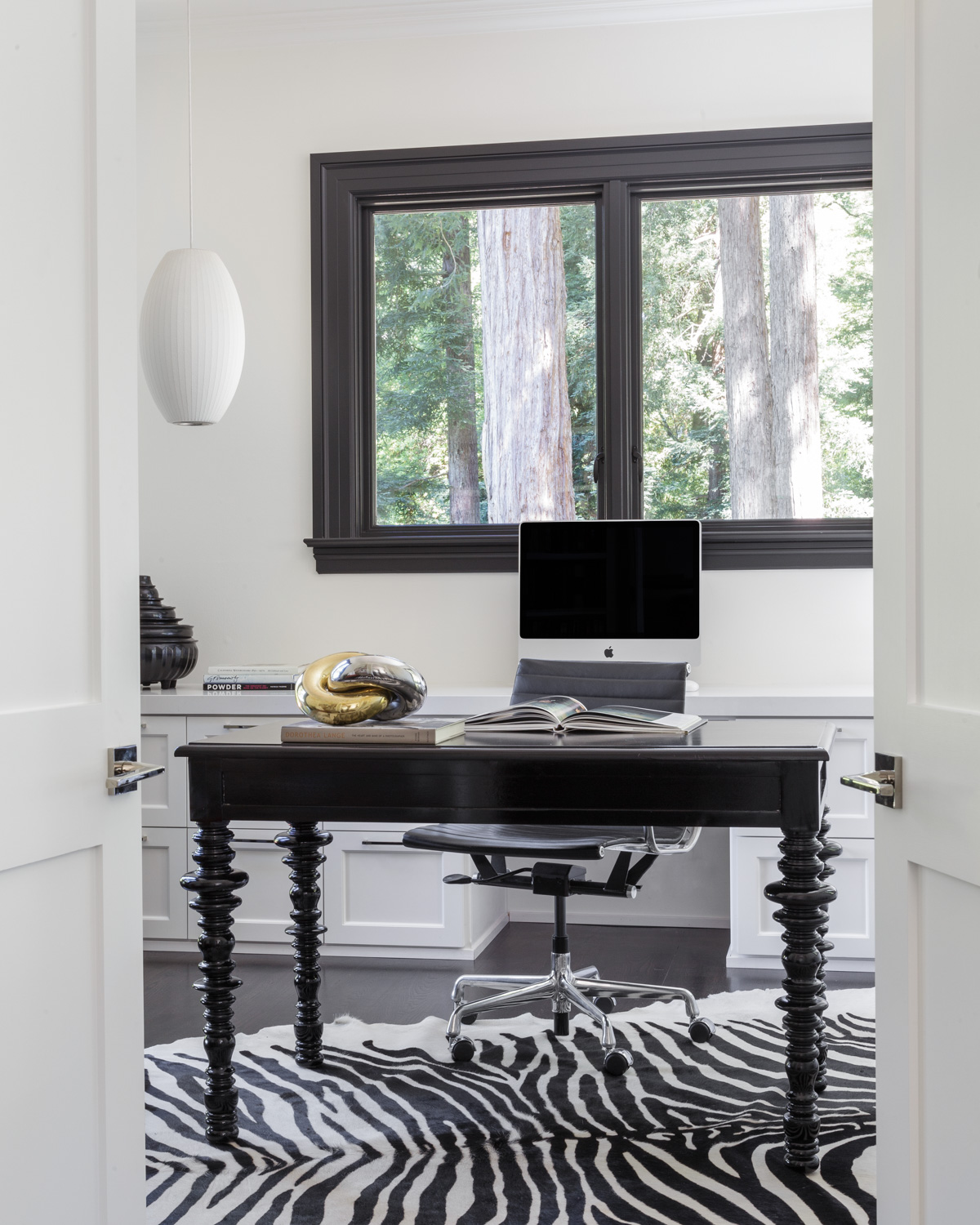 home office with zebra rug