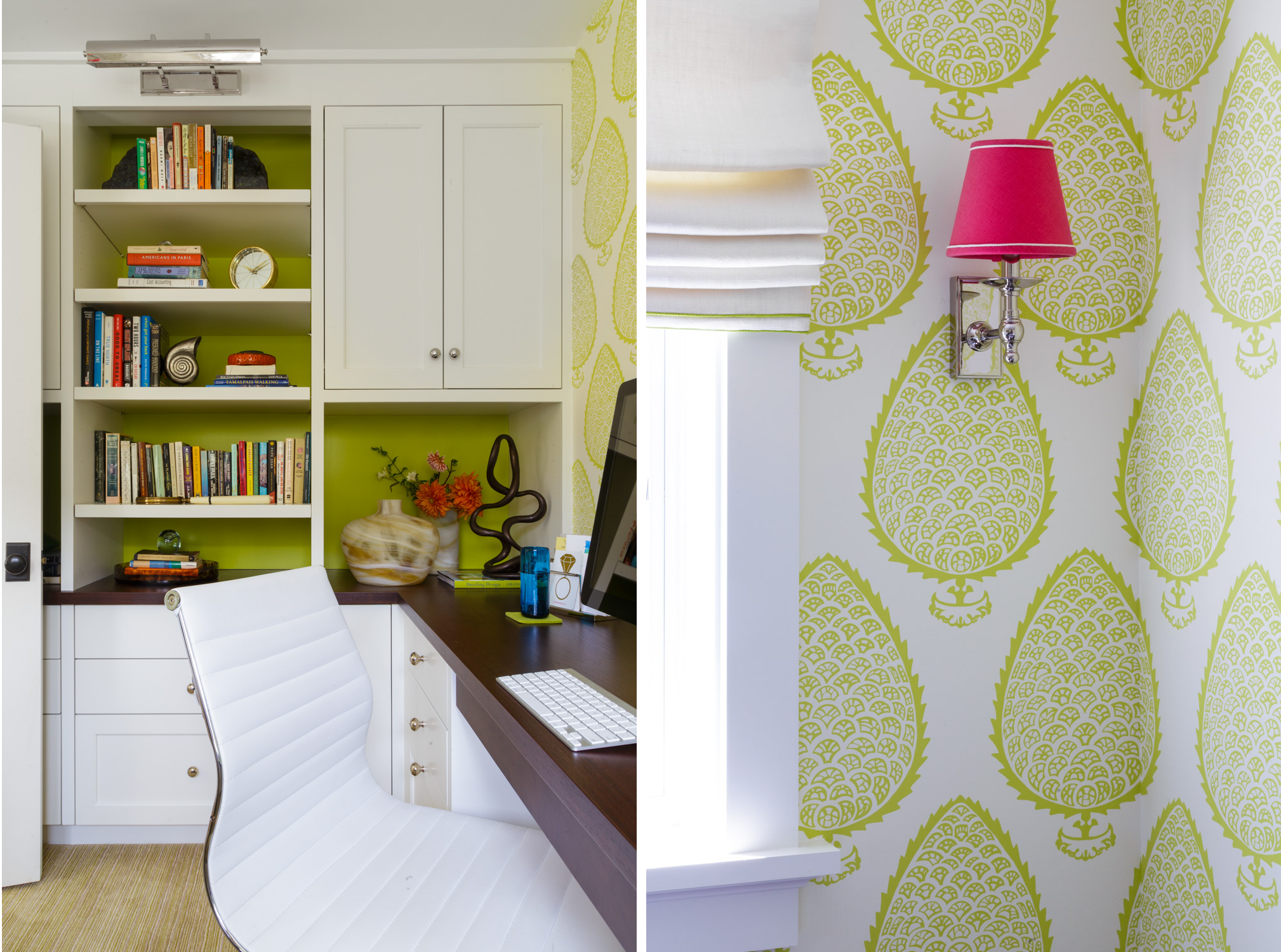 home office with graphic lime wallpaper