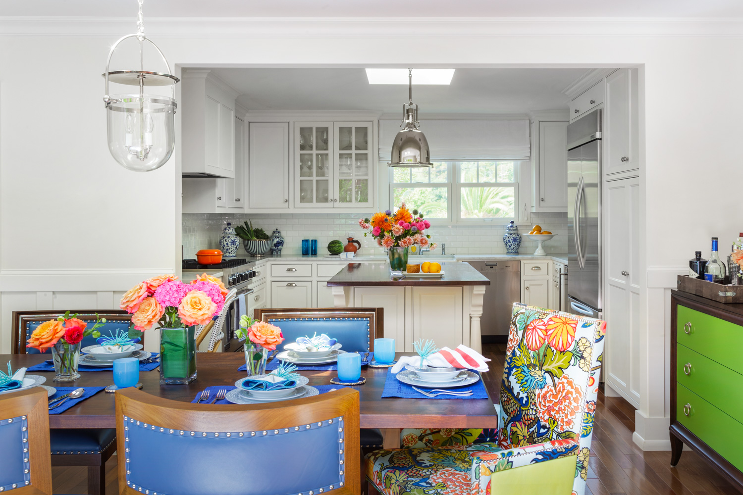blue green and white contemporary dining room