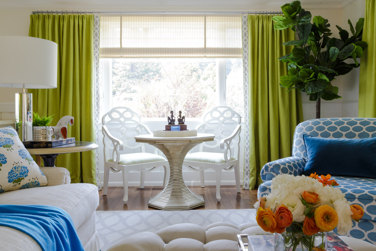 blue green and white contemporary living room
