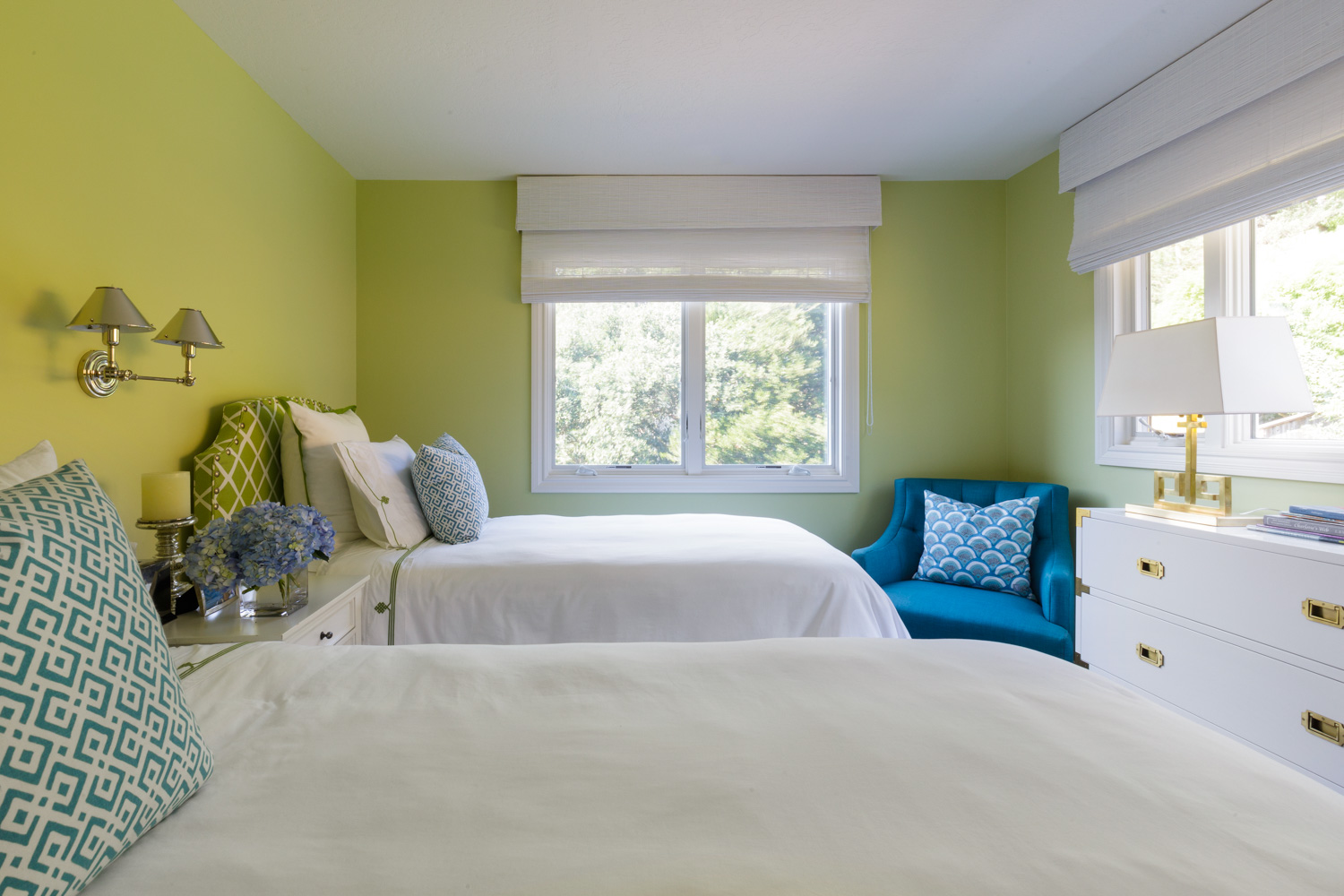 bedroom with lime walls