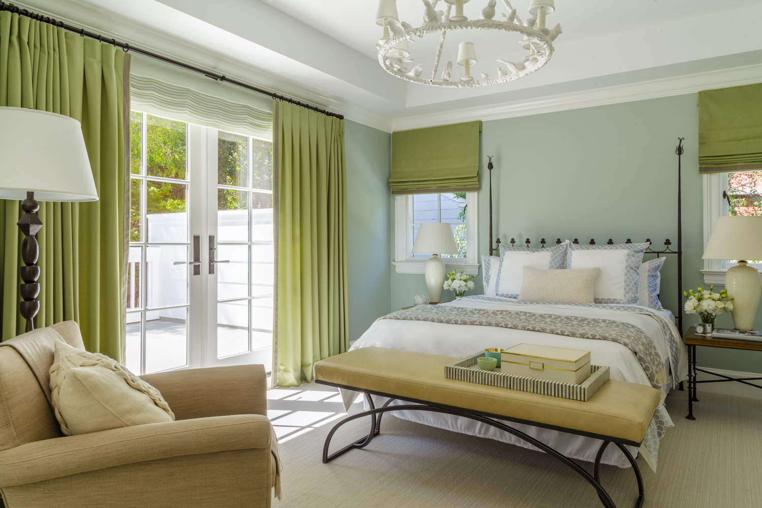 green and blue master bedroom