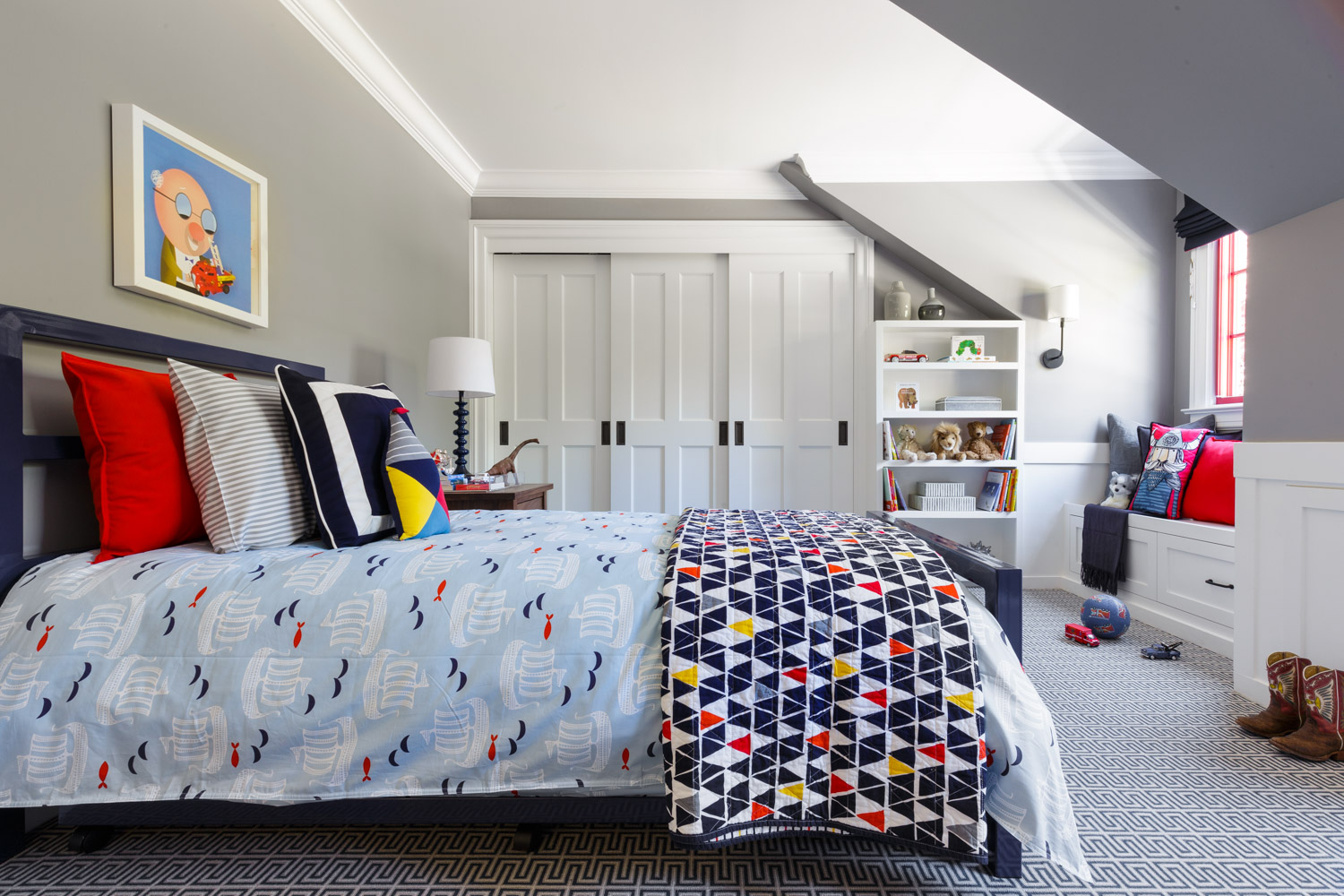navy, red and gray boys room