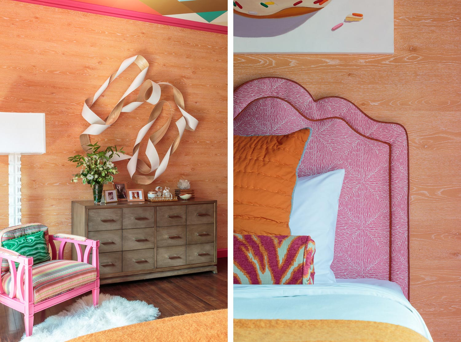 orange and pink girls room