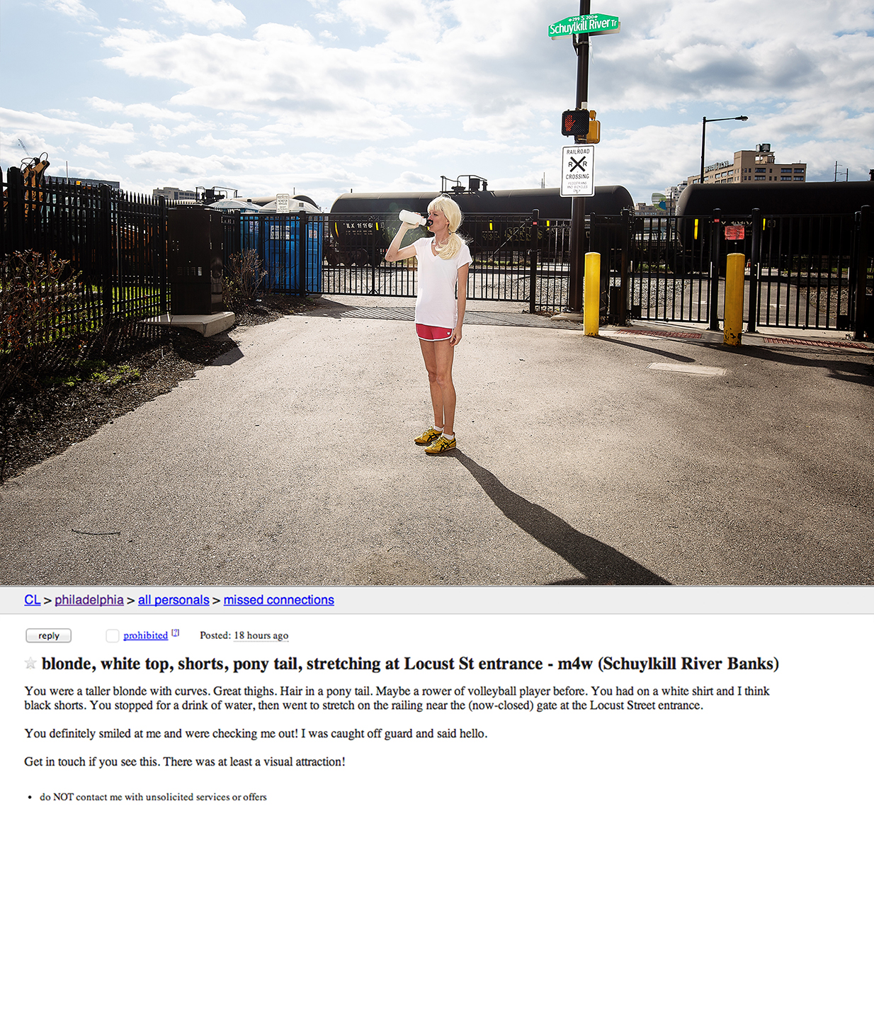 blonde, white top, shorts, pony tail, stretching at Locust St entrance