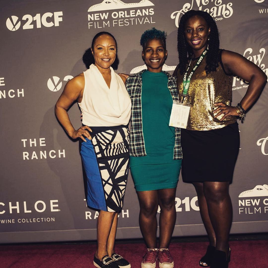 "RED CARPET AFTER ""SOLACE"" PANEL / Q&A - New Orleans, LA - Lande moderated the independent feature narrative film ""Solace"" that is written/directed by Tchaiko Omawale (middle) at the New Orleans Film Festival. Also co-stars actress Lynn Whitfield (far left)."