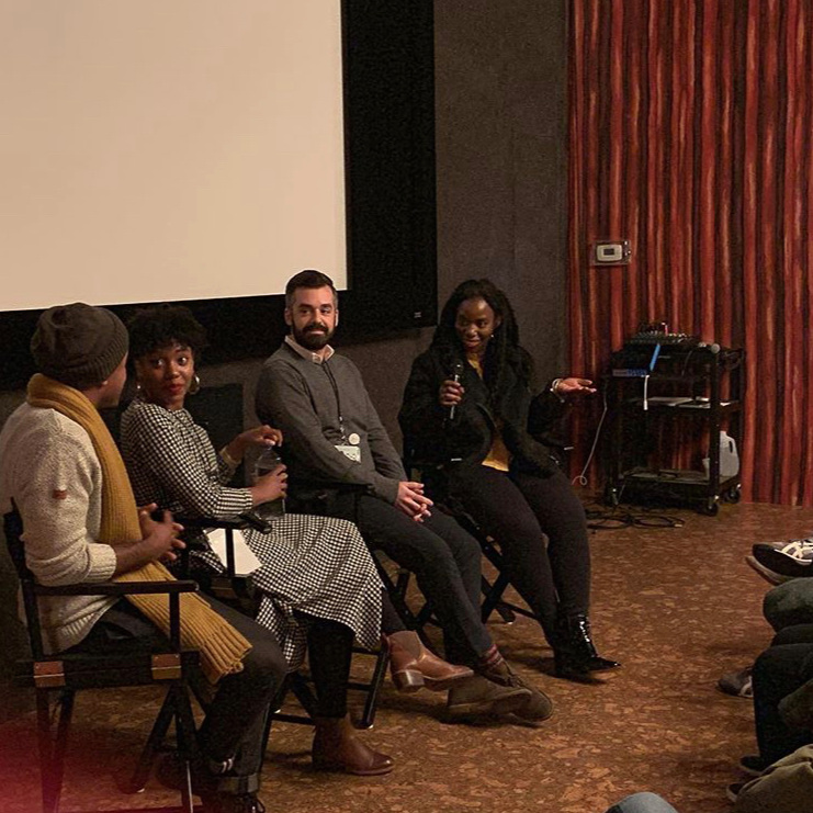 "TIDE FILM FESTIVAL - Brooklyn, NYC - Lande Yoosuf moderating the panel/q&a after the screening of the independent feature film ""Olympia"". Written, directed and starring McKenzie Chinn at the IFP Center."