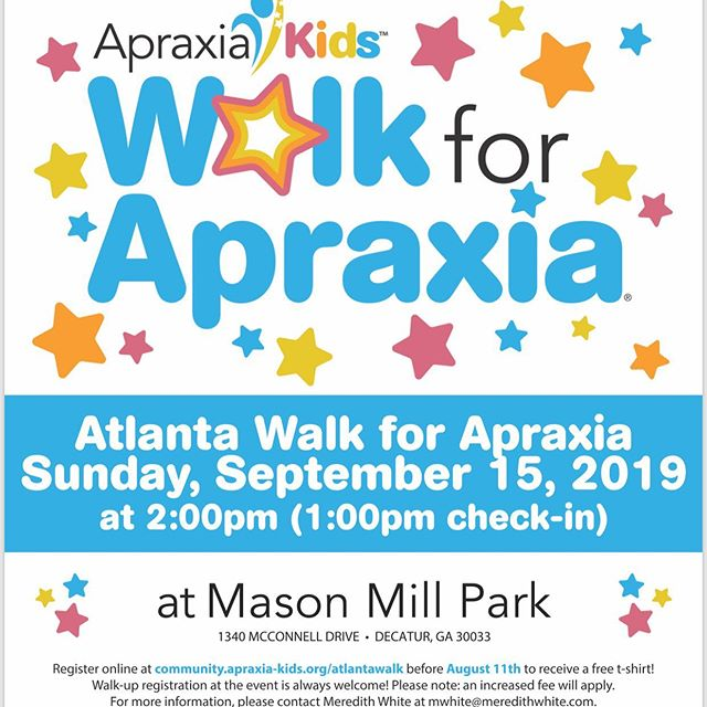 Come join us for the Atlanta Walk for Apraxia! We would love to have you on our team!!!