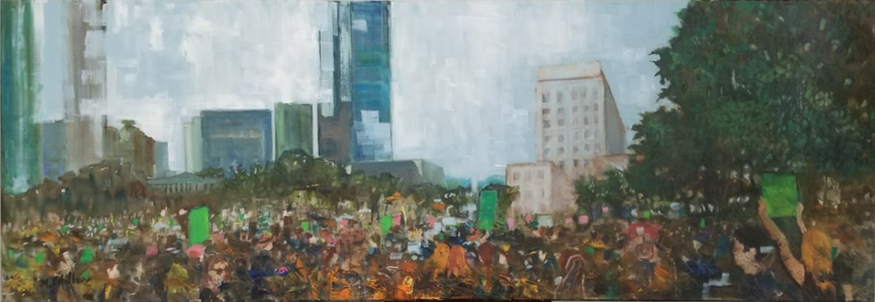 "Women's March (Houston, Texas) - Oil - 60"" x 20"""