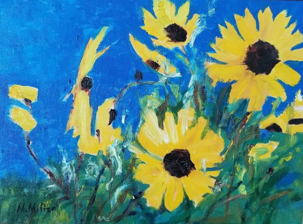 "Sunflowers 4  - Oil - 12"" x 9"""