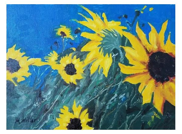"Sunflowers 5  - Oil - 12"" x 9"""
