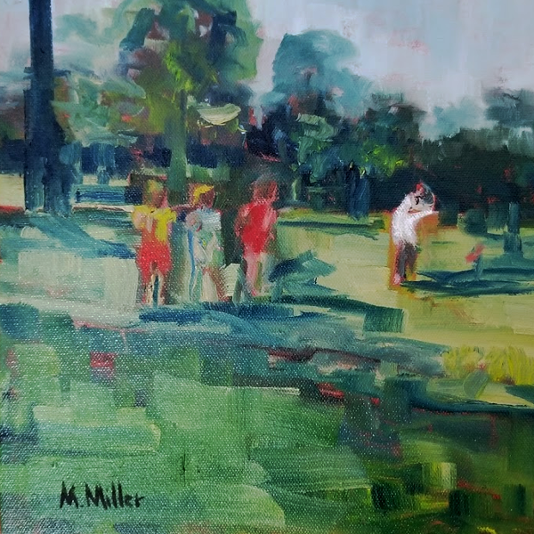 "Girls and Golf  -  Oil  -  10"" x 10"""