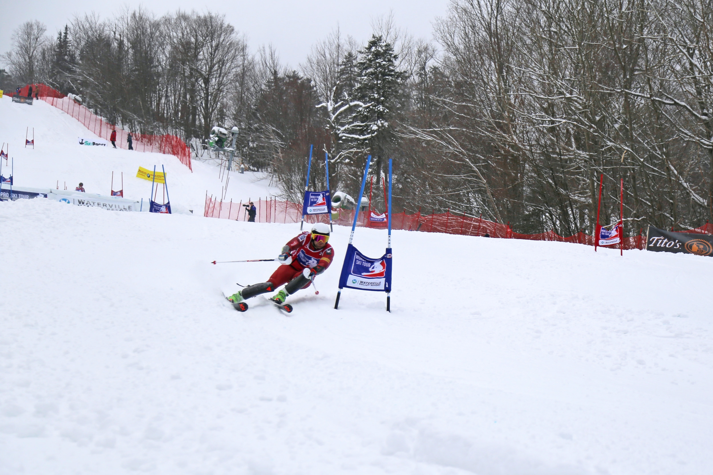 2018 U.S. Ski Team Member, Nolan Kasper, races on Tommy's World Cup at Waterville Valley Resort