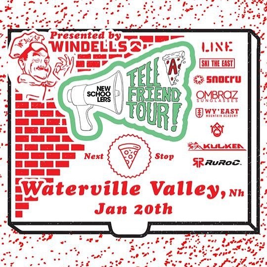 @parryandy is bringing the @newschoolers #tellafriendtour to Waterville Valley on January 20th, tell a friend!