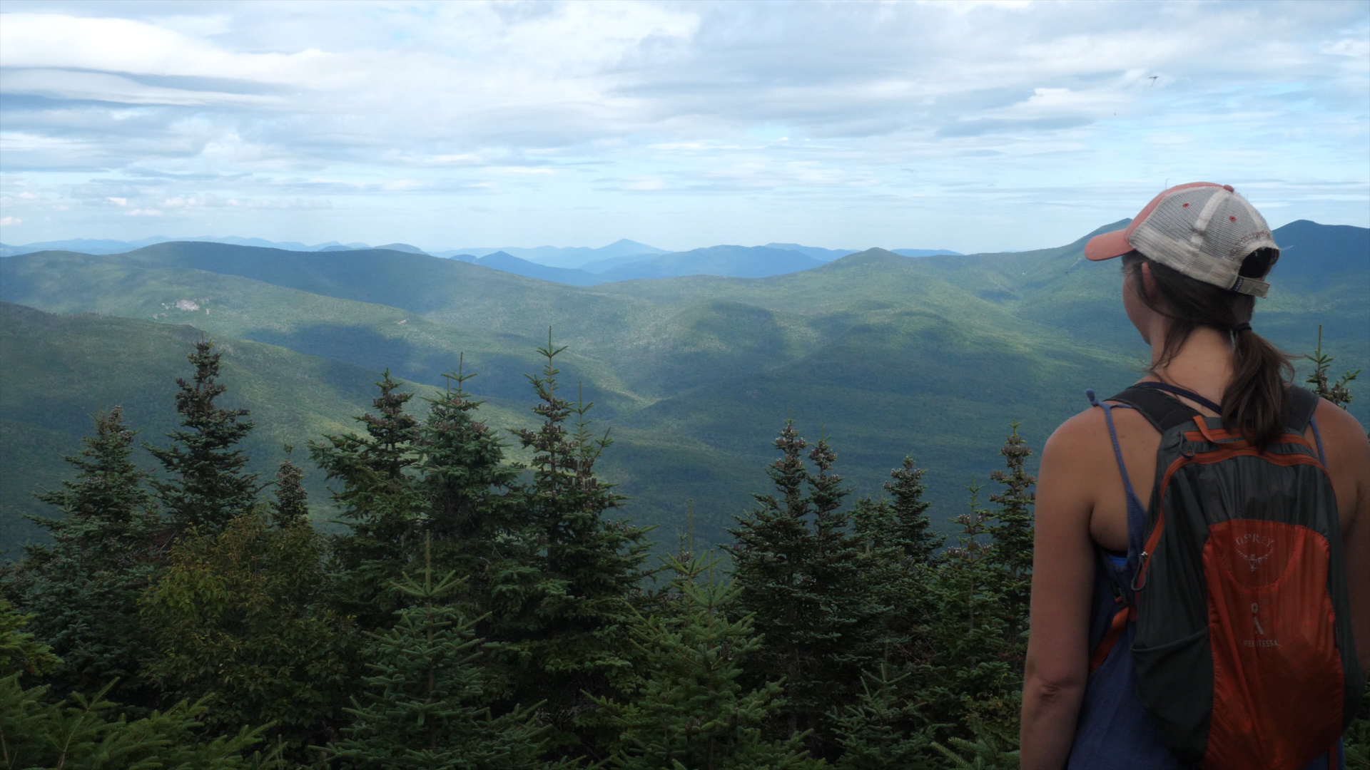 Enjoying the views from the summit of Mt. Tecumseh