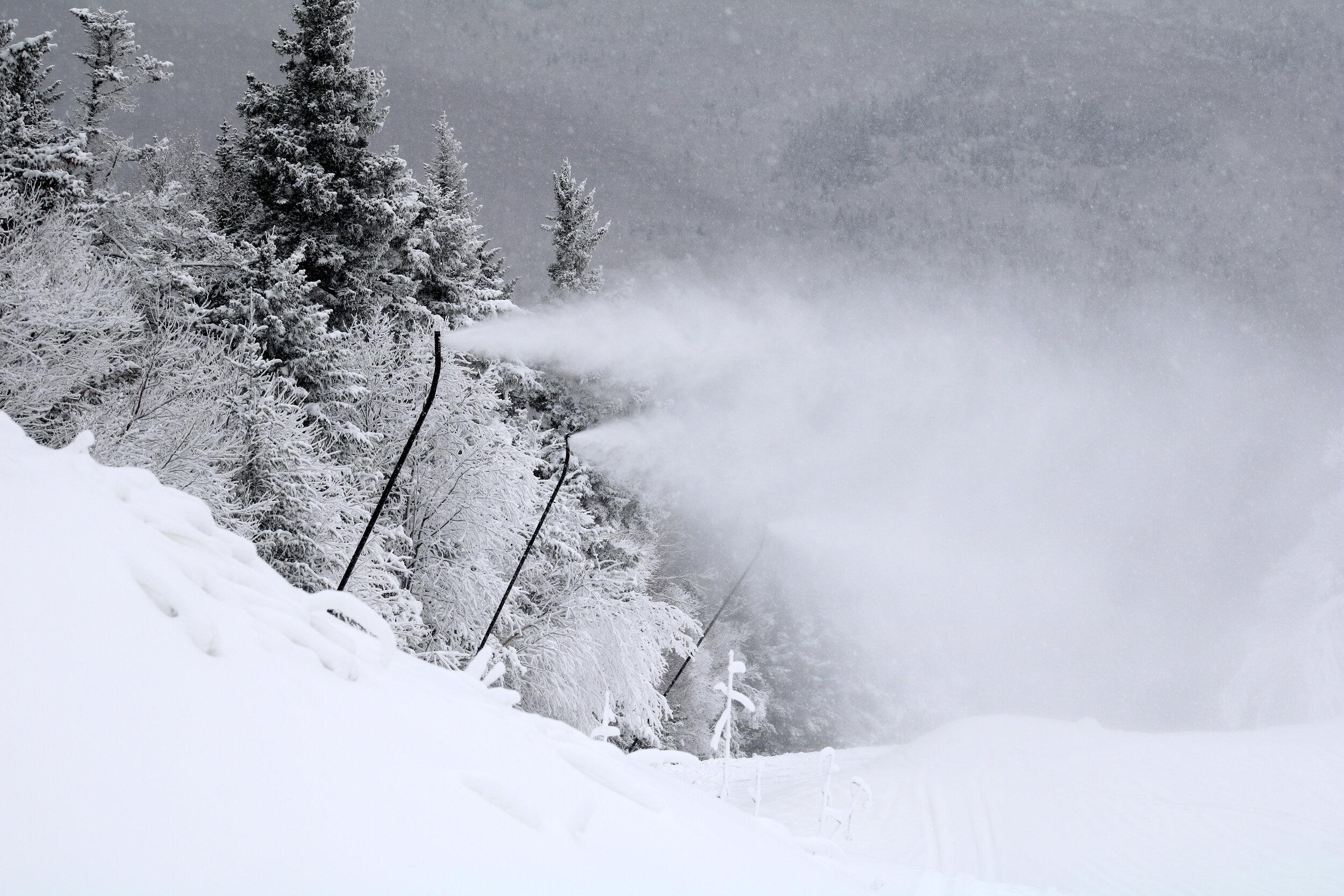 The new high efficiency snow guns working their magic.