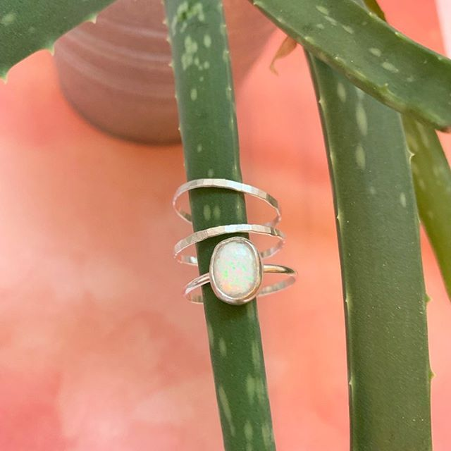 Love that little Opal ring but gold's not really your thing? I can make it in silver too! ⠀ ⠀ Shoot me your custom ideas in a DM and let's get it made!⠀ ⠀ •⠀ •⠀ •⠀ •⠀ •⠀ #theeverygirl #girlpower #girlgang #customstacks #stacksonstacks #ringsofinstagram #sterlingsilver #weareworthy #youareworthy #heytherebeautiful #neonlovestory #inspiration #encourage #youarenotalone #makeyousmilestyle #lovelysquares #everysquareastory #hustleandheart #makeyousmilestyle #thehappynow #justkeepswimming #alittlebeautyeveryday⠀