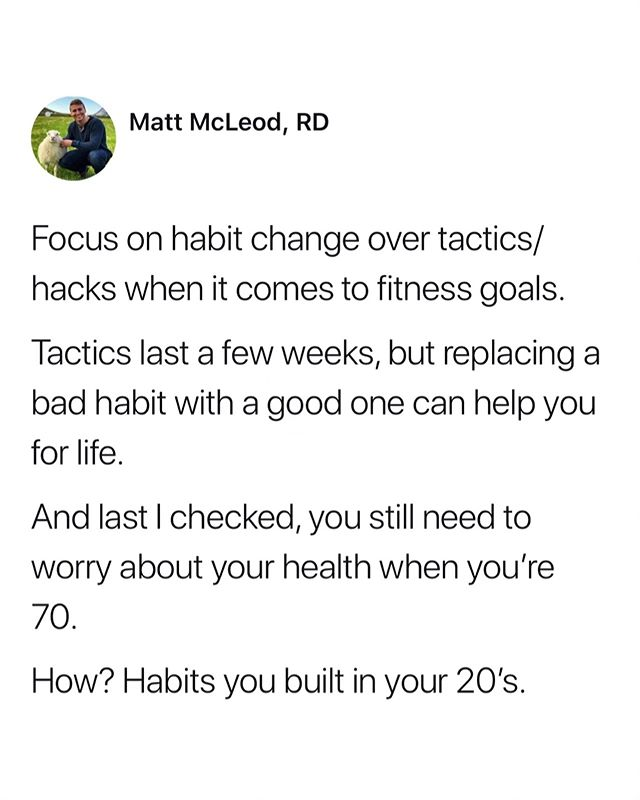 "Meal plans, cleanses, detoxes, 30-day diets — they're all band-aids on a broken leg. ⠀ They tell you *what* to eat, but don't tell you *how* to eat. ⠀ In conjunction with educating yourself on calories and macros, you need to focus on behavior change — i.e., building better habits. ⠀ Obviously I'm limited with what I can expand on here, but I highly recommend @james_clear and his book, Atomic Habits. ⠀ I'll leave you with a quote from him, ⠀ ""𝘗𝘦𝘰𝘱𝘭𝘦 𝘸𝘩𝘰 𝘮𝘢𝘬𝘦 𝘢 𝘴𝘱𝘦𝘤𝘪𝘧𝘪𝘤 𝘱𝘭𝘢𝘯 𝘧𝘰𝘳 𝘸𝘩𝘦𝘯 𝘢𝘯𝘥 𝘸𝘩𝘦𝘳𝘦 𝘵𝘩𝘦𝘺 𝘸𝘪𝘭𝘭 𝘱𝘦𝘳𝘧𝘰𝘳𝘮 𝘢 𝘯𝘦𝘸 𝘩𝘢𝘣𝘪𝘵 𝘢𝘳𝘦 𝘮𝘰𝘳𝘦 𝘭𝘪𝘬𝘦𝘭𝘺 𝘵𝘰 𝘧𝘰𝘭𝘭𝘰𝘸 𝘵𝘩𝘳𝘰𝘶𝘨𝘩. 𝘞𝘦 𝘵𝘦𝘭𝘭 𝘰𝘶𝘳𝘴𝘦𝘭𝘷𝘦𝘴, ""𝘐'𝘮 𝘨𝘰𝘪𝘯𝘨 𝘵𝘰 𝘦𝘢𝘵 𝘩𝘦𝘢𝘭𝘵𝘩𝘪𝘦𝘳"" 𝘰𝘳 ""𝘐'𝘮 𝘨𝘰𝘪𝘯𝘨 𝘵𝘰 𝘸𝘳𝘪𝘵𝘦 𝘮𝘰𝘳𝘦,"" 𝘣𝘶𝘵 𝘸𝘦 𝘯𝘦𝘷𝘦𝘳 𝘴𝘢𝘺 𝘸𝘩𝘦𝘯 𝘢𝘯𝘥 𝘸𝘩𝘦𝘳𝘦 𝘵𝘩𝘦𝘴𝘦 𝘩𝘢𝘣𝘪𝘵𝘴 𝘢𝘳𝘦 𝘨𝘰𝘪𝘯𝘨 𝘵𝘰 𝘩𝘢𝘱𝘱𝘦𝘯. ⠀ 𝘞𝘩𝘦𝘯 𝘵𝘩𝘦 𝘮𝘰𝘮𝘦𝘯𝘵 𝘰𝘧 𝘢𝘤𝘵𝘪𝘰𝘯 𝘰𝘤𝘤𝘶𝘳𝘴, 𝘵𝘩𝘦𝘳𝘦 𝘪𝘴 𝘯𝘰 𝘯𝘦𝘦𝘥 𝘵𝘰 𝘮𝘢𝘬𝘦 𝘢 𝘥𝘦𝘤𝘪𝘴𝘪𝘰𝘯. 𝘚𝘪𝘮𝘱𝘭𝘺 𝘧𝘰𝘭𝘭𝘰𝘸 𝘺𝘰𝘶𝘳 𝘱𝘳𝘦𝘥𝘦𝘵𝘦𝘳𝘮𝘪𝘯𝘦𝘥 𝘱𝘭𝘢𝘯. ⠀ 𝙈𝙖𝙣𝙮 𝙥𝙚𝙤𝙥𝙡𝙚 𝙩𝙝𝙞𝙣𝙠 𝙩𝙝𝙚𝙮 𝙡𝙖𝙘𝙠 𝙢𝙤𝙩𝙞𝙫𝙖𝙩𝙞𝙤𝙣 𝙬𝙝𝙚𝙣 𝙬𝙝𝙖𝙩 𝙩𝙝𝙚𝙮 𝙧𝙚𝙖𝙡𝙡𝙮 𝙡𝙖𝙘𝙠 𝙞𝙨 𝙘𝙡𝙖𝙧𝙞𝙩𝙮."""