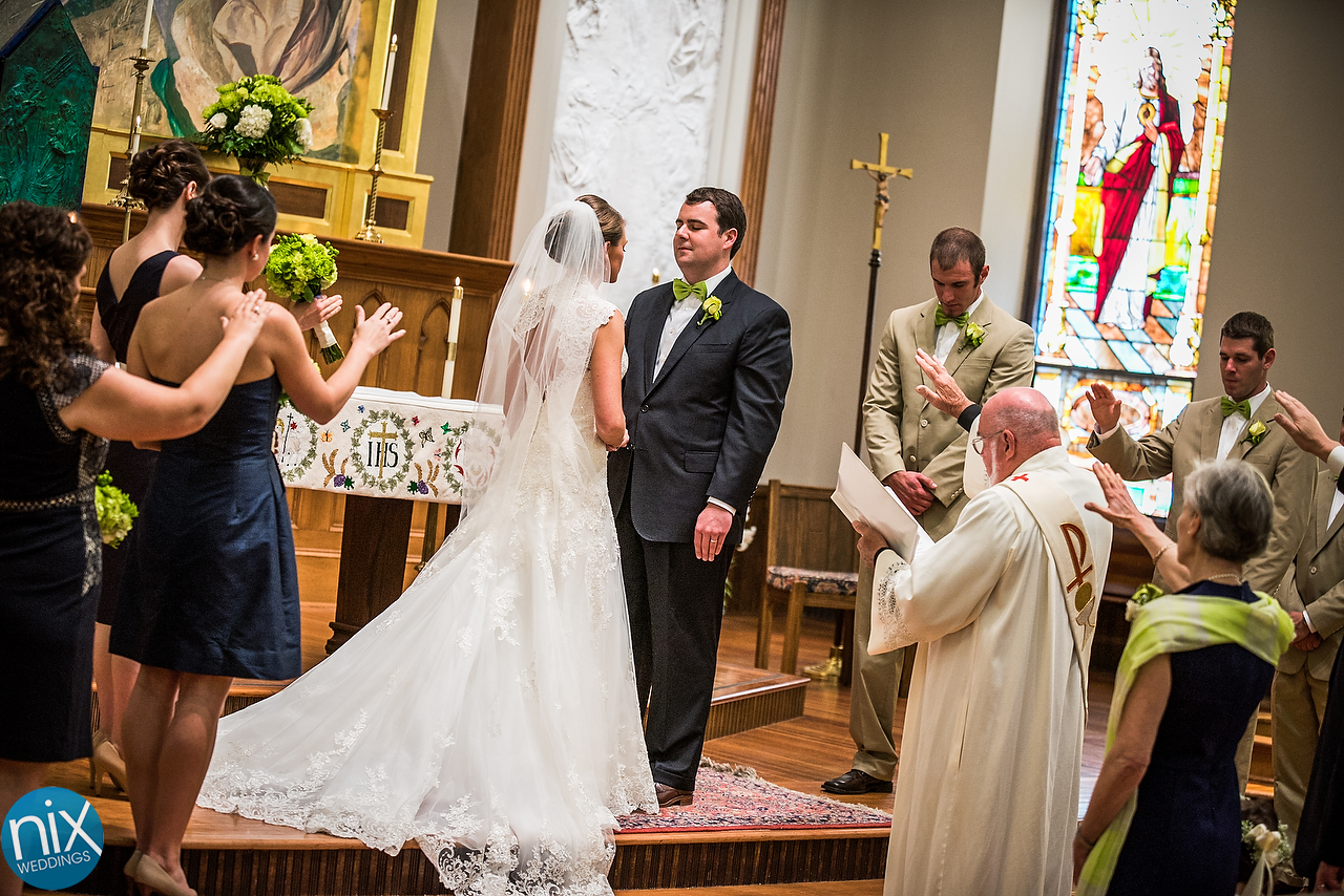 Christine and Jonathan marriage at St. Peters Catholic Church and Romare Beardan Park in downtown Charlotte in April 18, 2015.