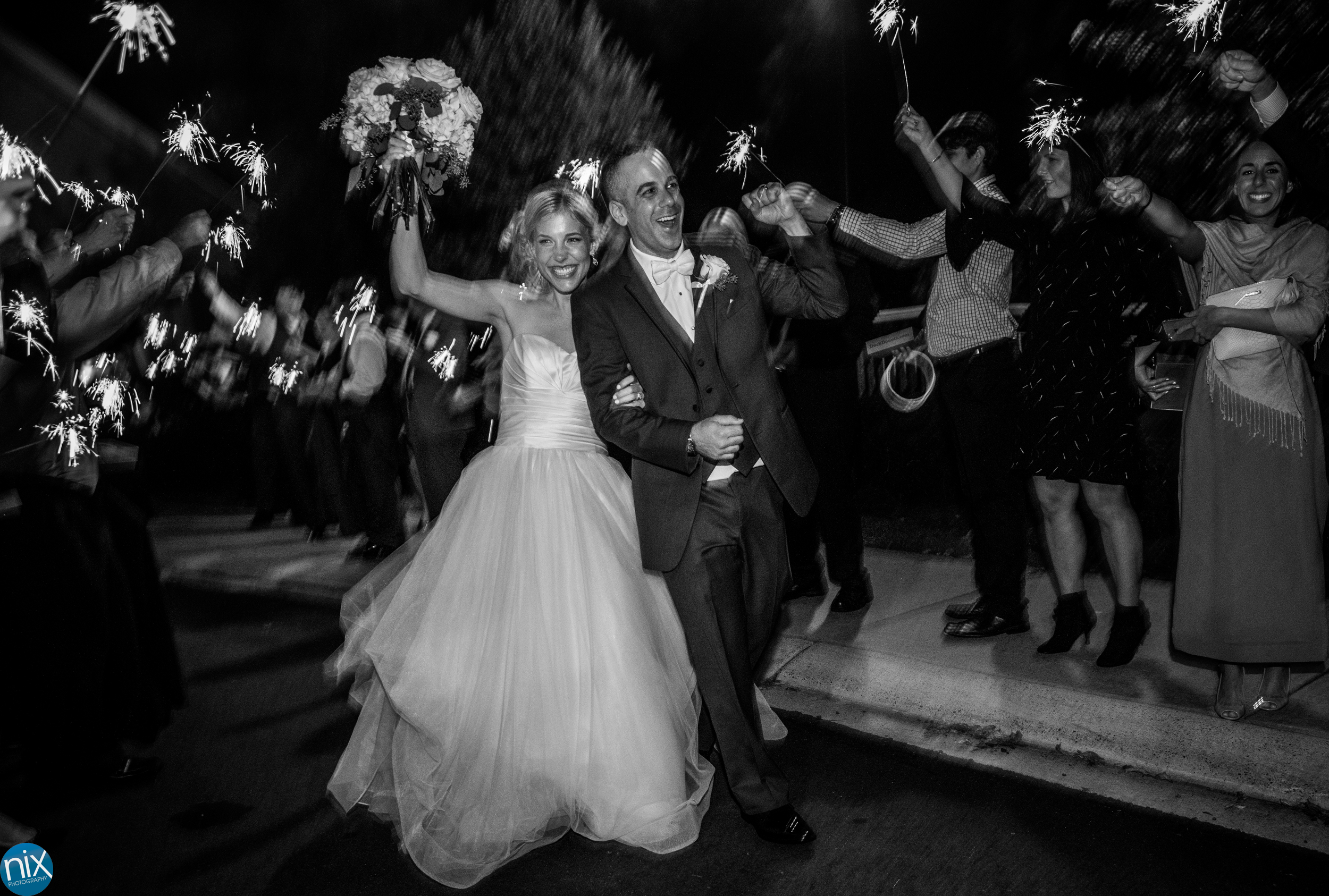 bride and groom sparkler exit at North Stone Country Club in Huntersville.jpg