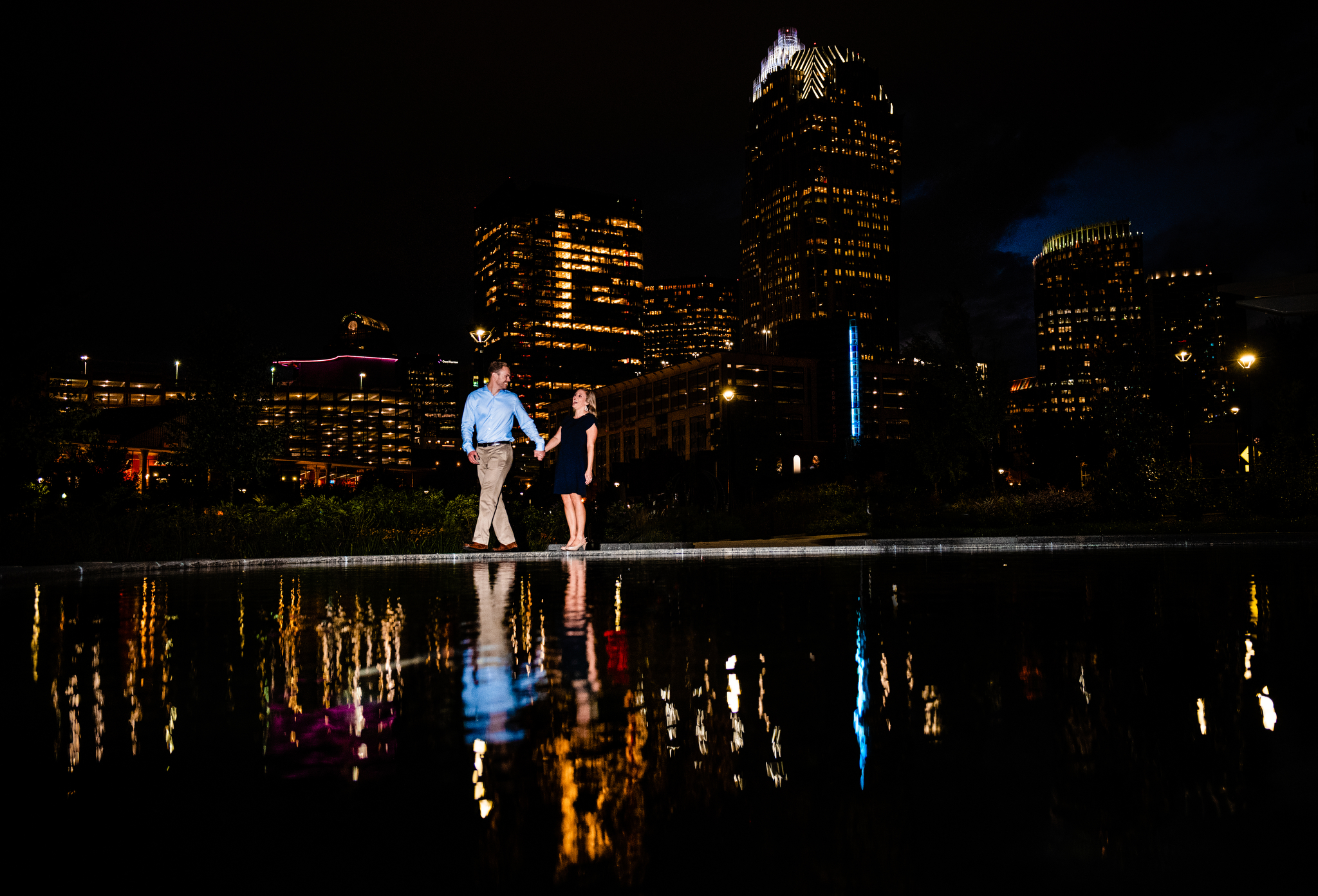 Charlotte Engagement reflection first ward park skyline.jpg