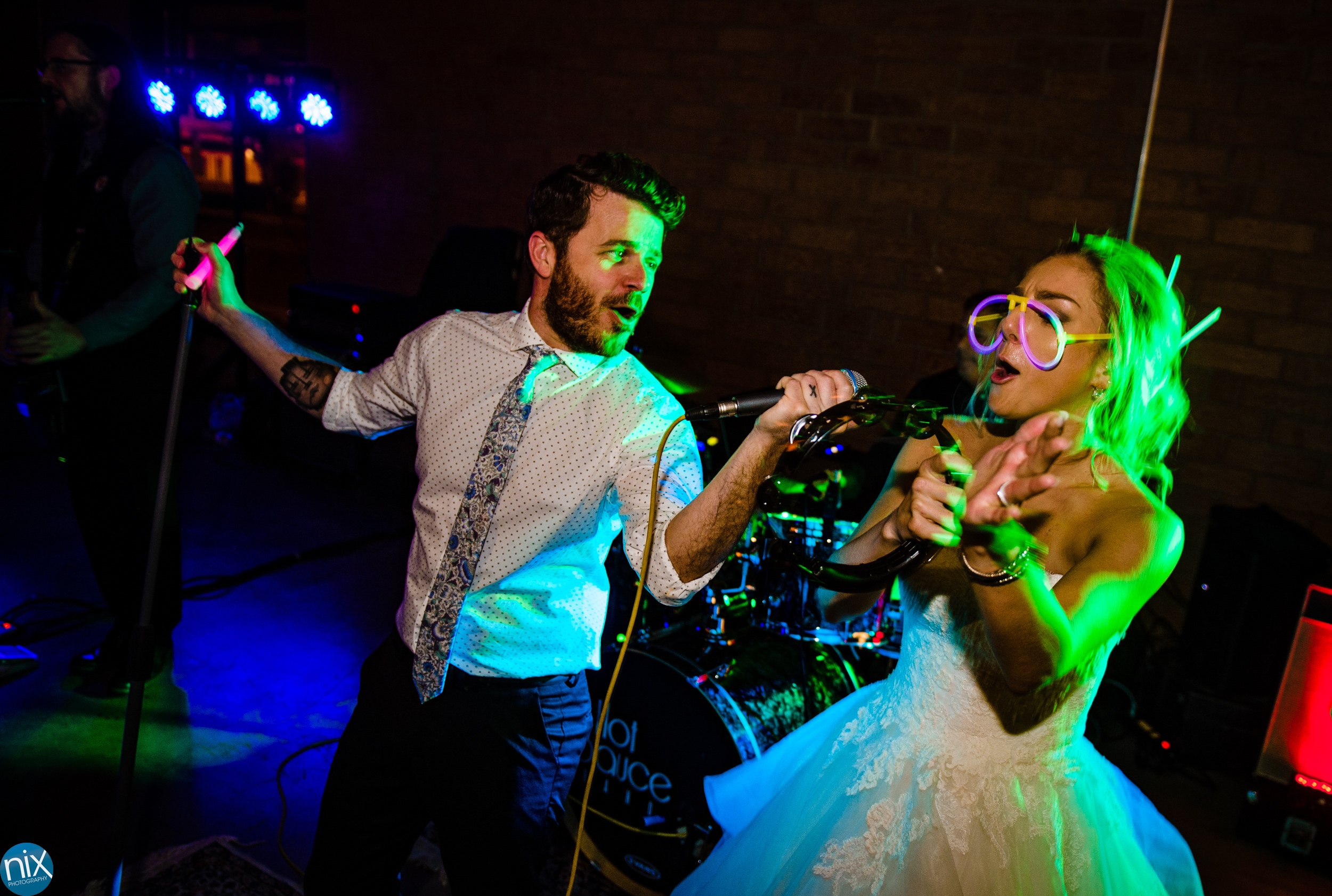 Bride sings with Hot Sauce Band at Triple C Barrel Room