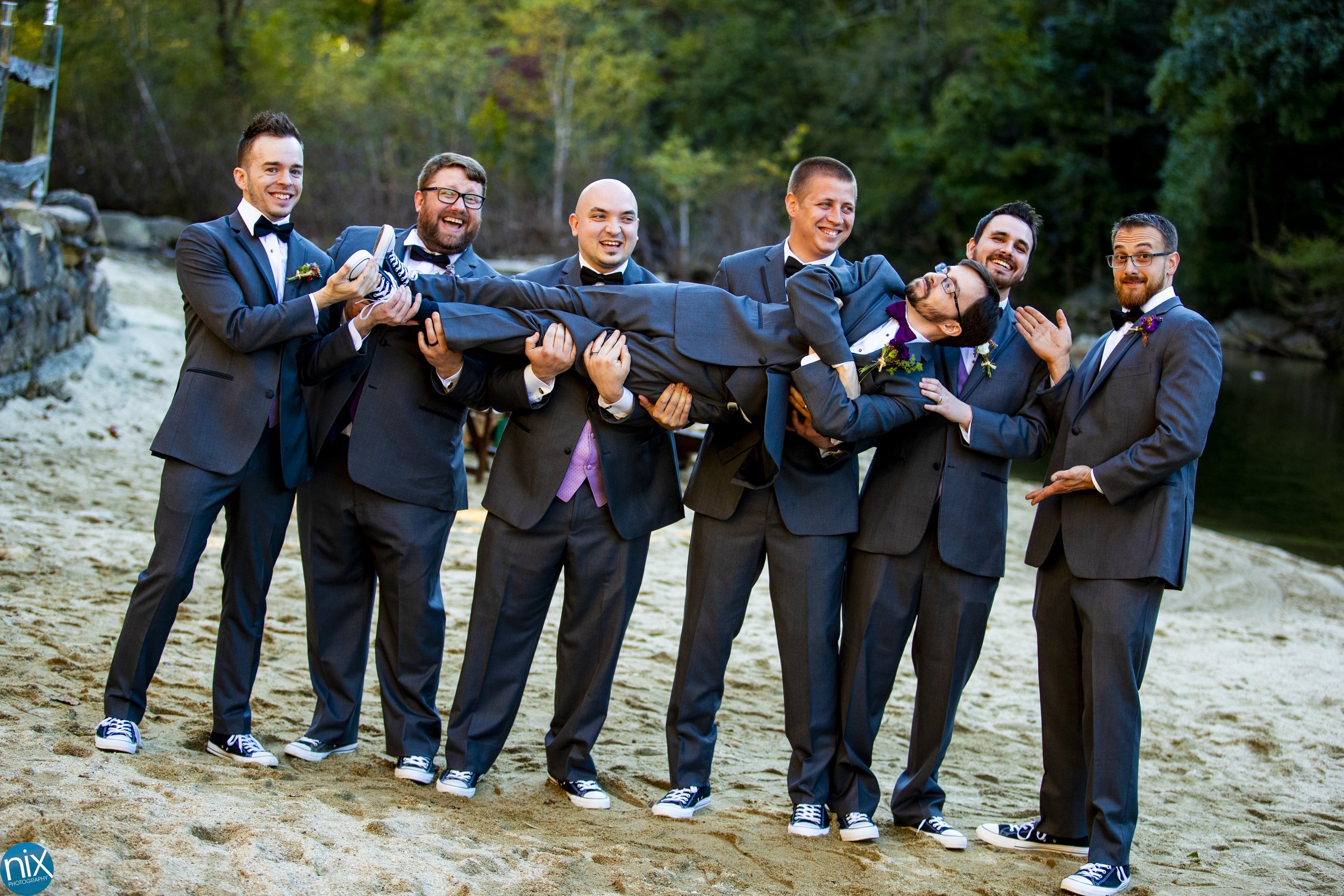 groomsmen pick up groom at Brown Mountain Beach Resort.jpg