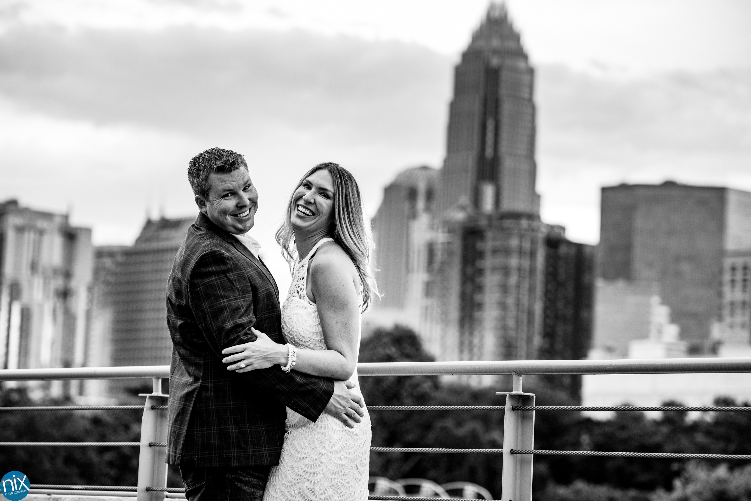 charlotte skyline engagement at Terrace at Cedar Hill black and white.jpg