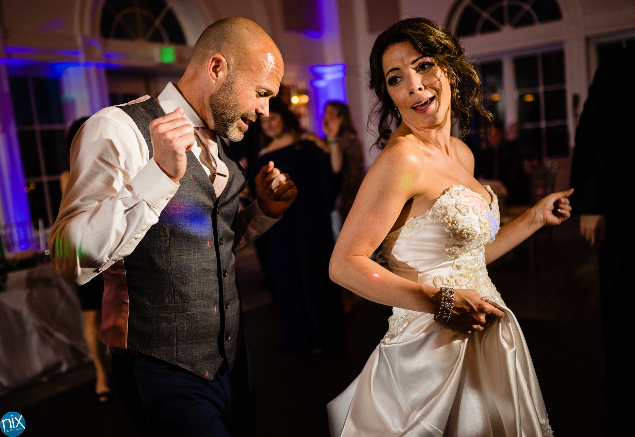 bride and groom dance at River Run Country Club
