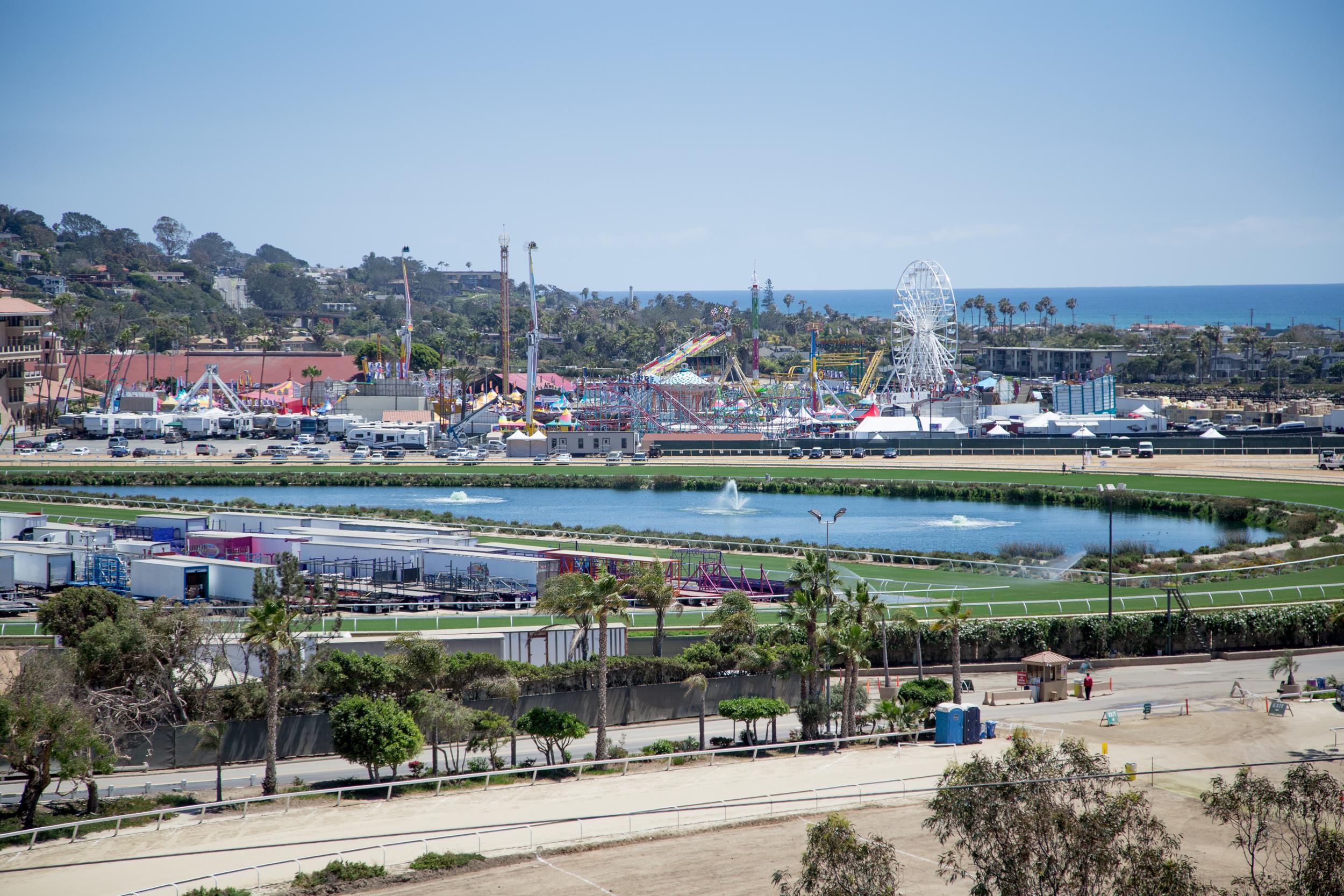 Overlooks the Del Mar Fairgrounds