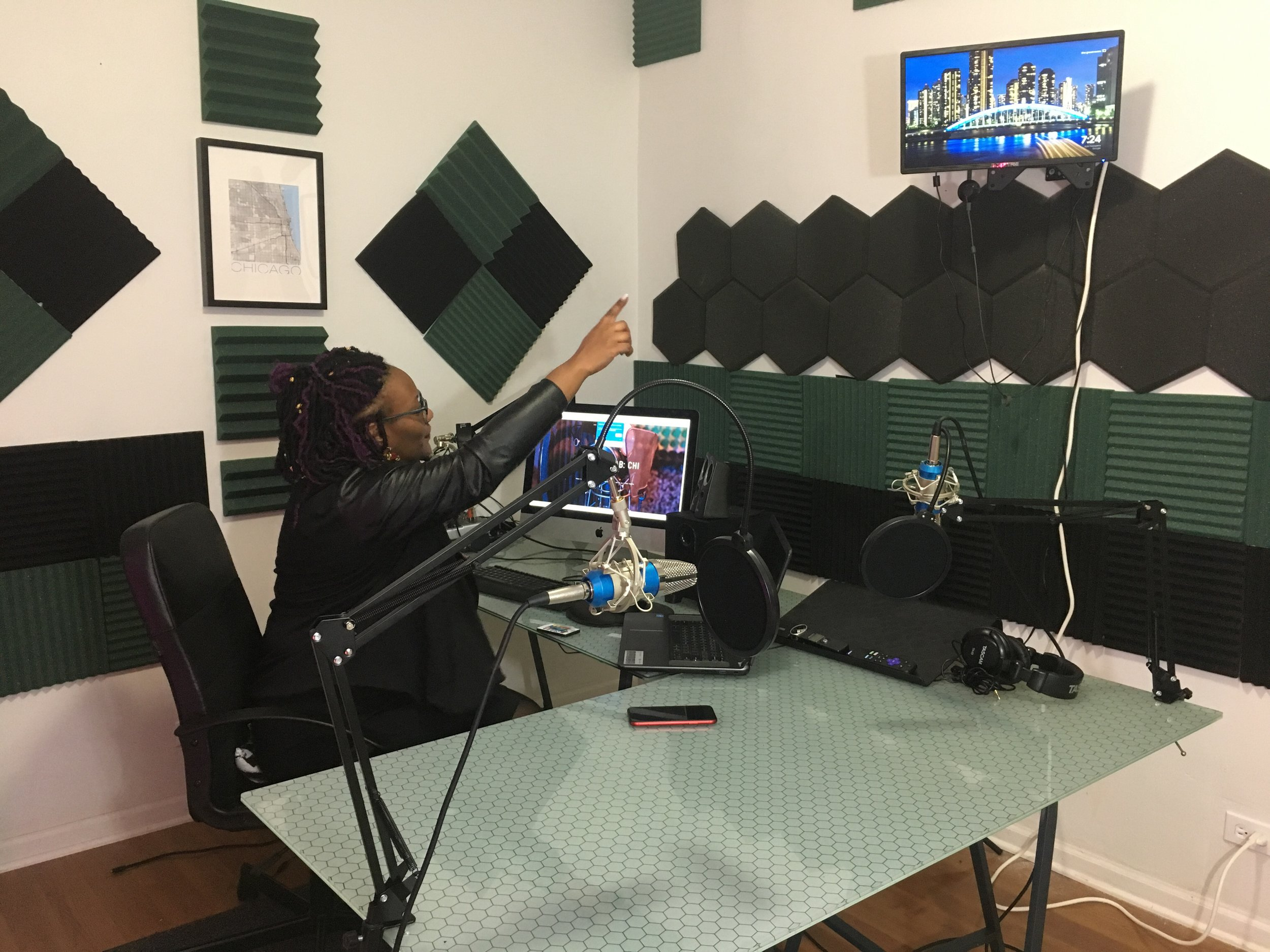 "Tiffany ""TJ"" Mikkal in the podcast studio at The Media Lab: Chi"