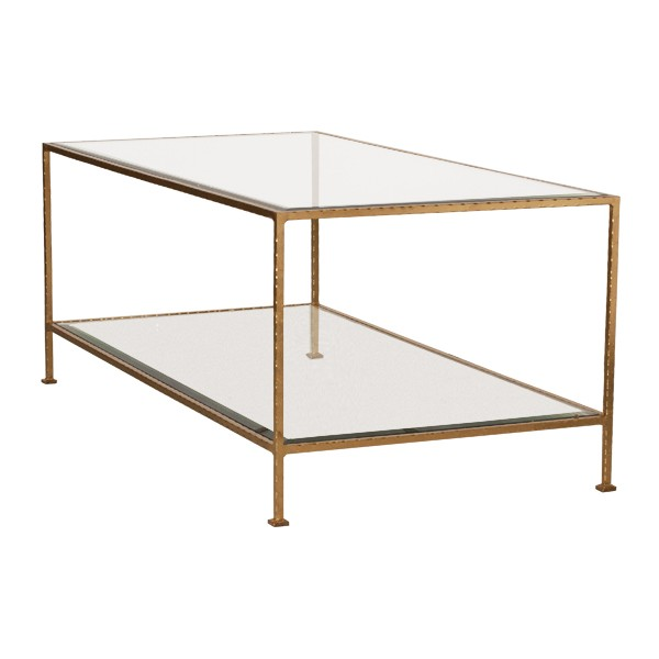 Gold and Glass rectangle Coffee Table. Updated look, clean lines and will showcase fun accessories.